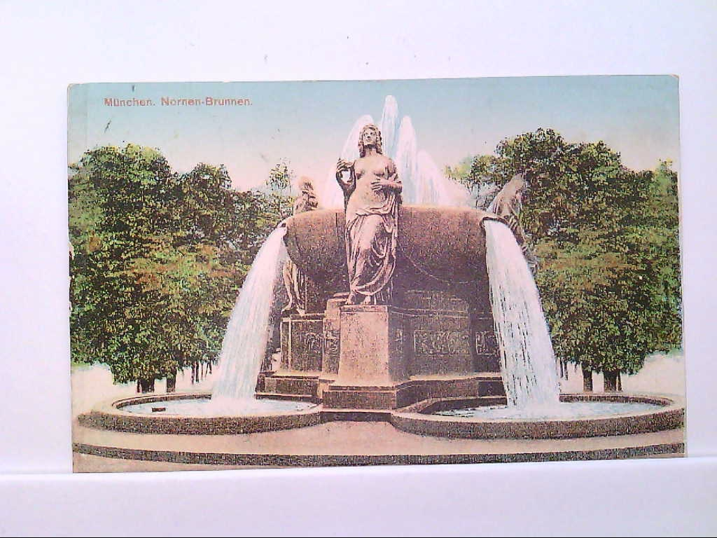 AK München - Nornen Brunnen, Künstlerkarte.
