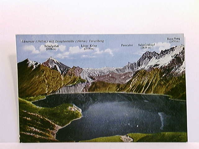 AK Lünersee mit Douglashütte, Vorarlberg; coloriert; ungelaufen, ca. 1930