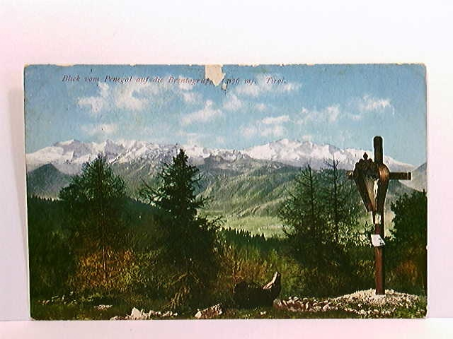 AK Blick vom Penegal auf die Brentagruppe; coloriert; Stempel Restaurant Penegal-Kulm; gelaufen 1910