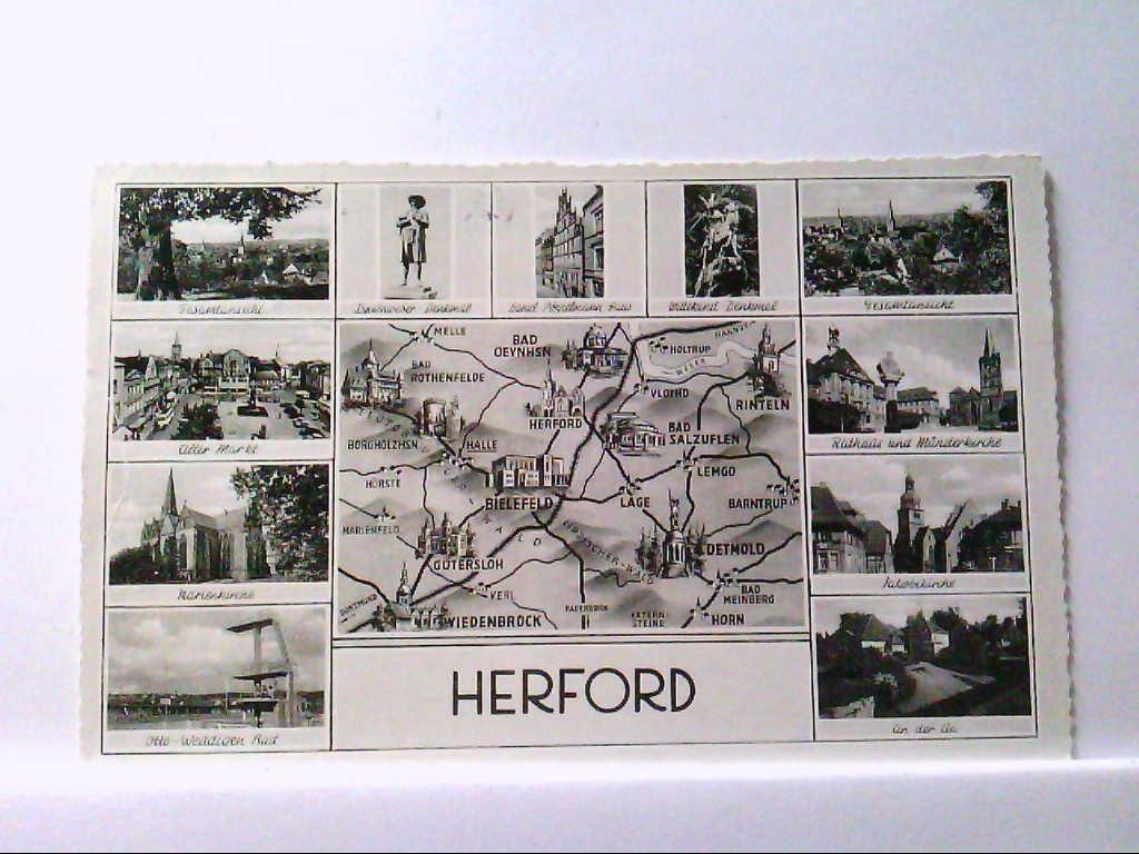 AK Herford, Mehrbildkarte mit 12 Abb. und Landkarte,