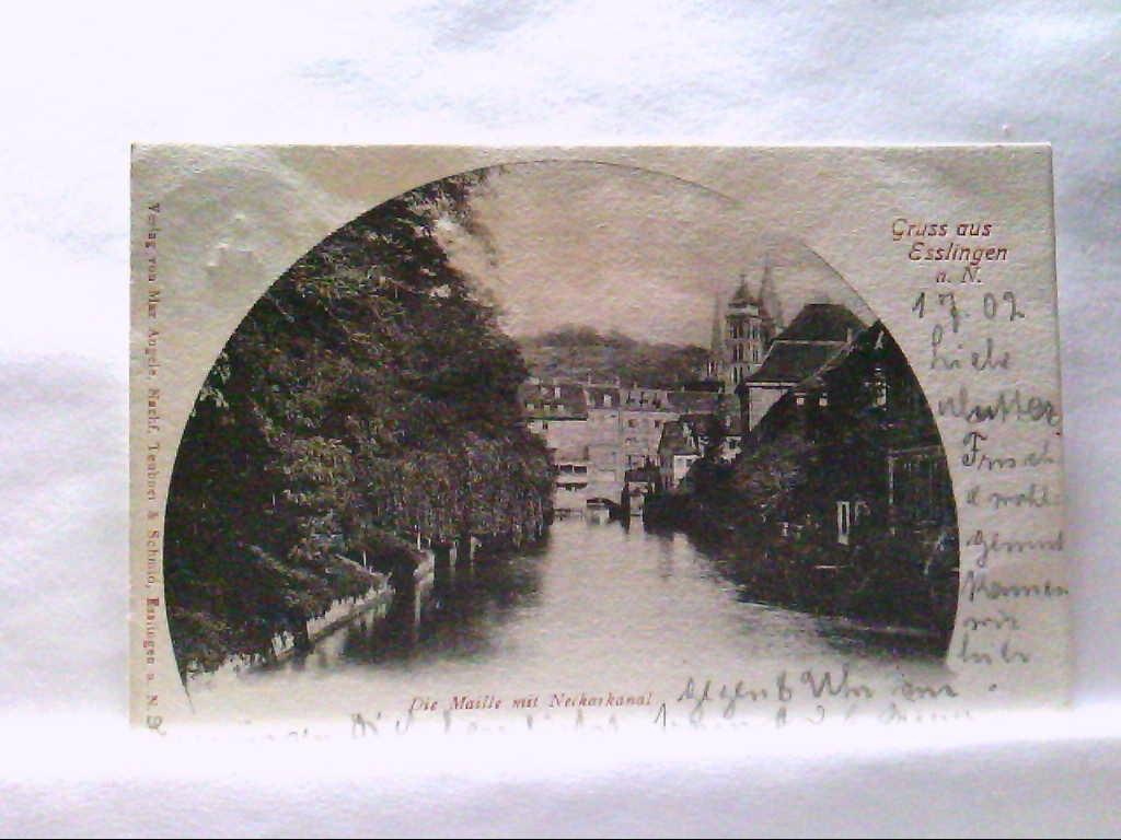 AK Esslingen a. N, Gruss aus Esslingen, Die Maille mit Neckarkanal, Panorama.