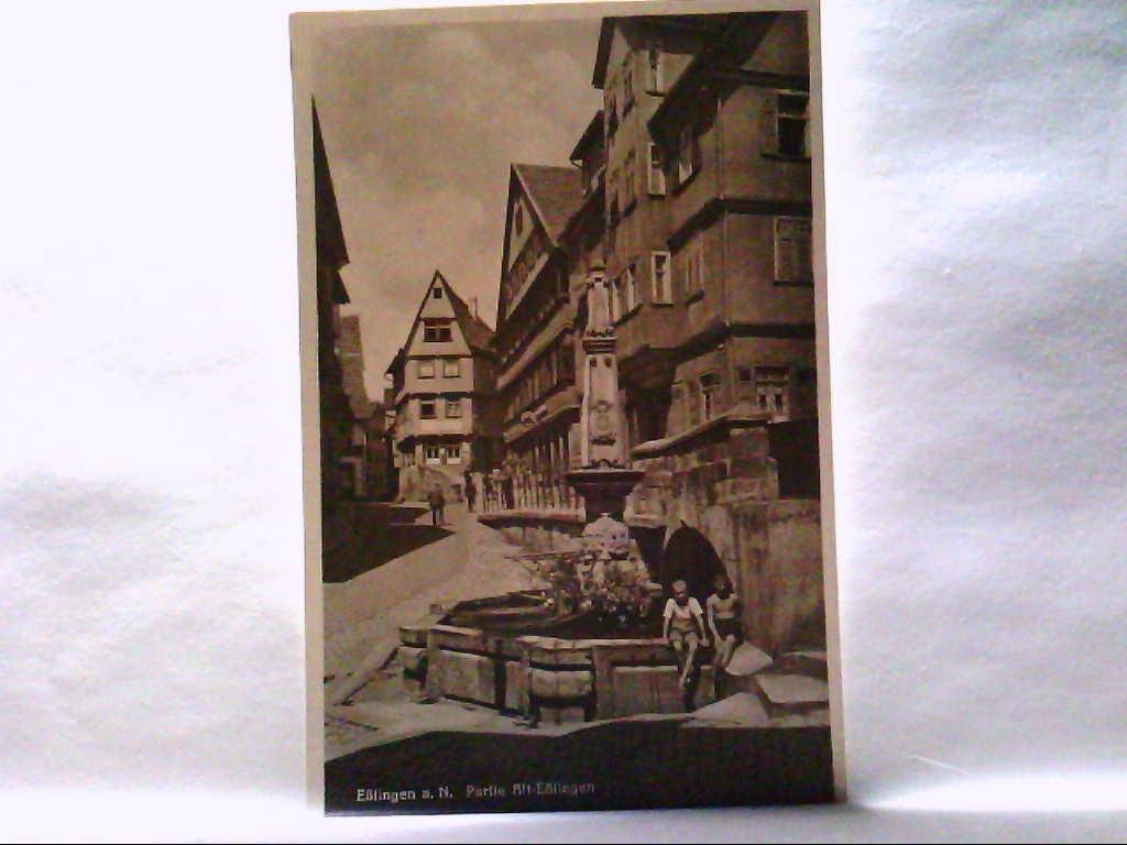 AK Eßlingen a. N, Partie Alt - Eßlingen, Brunnen, Personen, Panoramaansicht.