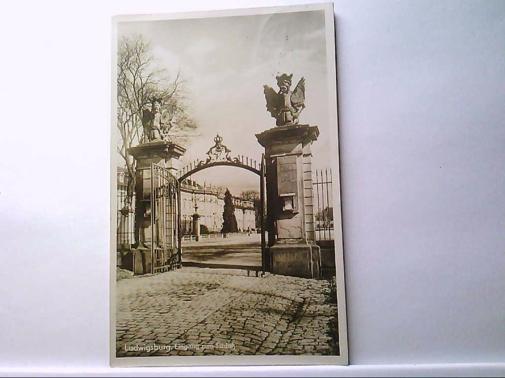 AK Ludwigsburg, Eingang zum Schloß, Panoramaansicht.