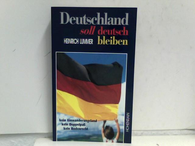 Deutschland soll deutsch bleiben - kein Einwanderungsland, kein Doppelpaß, kein Bodenrecht. Mit einem Beitr. von Felix Buck