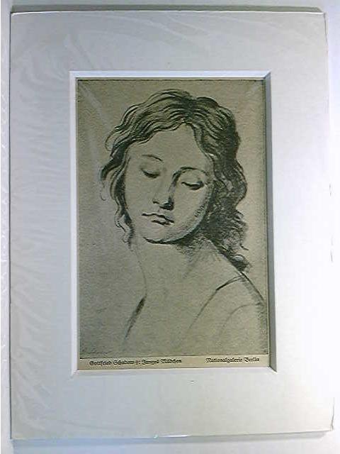 """Grafik """"Junges Mädchen"""", Gottfried Schadow, Nationalgalerie Berlin; 1911; Keilschnittpassepartout"""