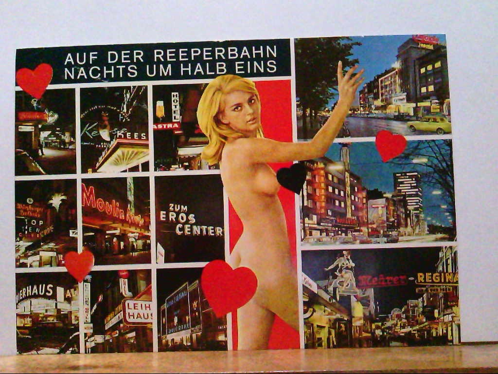 AK Hamburg, Auf der Reeperbahn Nachts um Halb Eins, Mehrbildkarte mit 13 Abb.