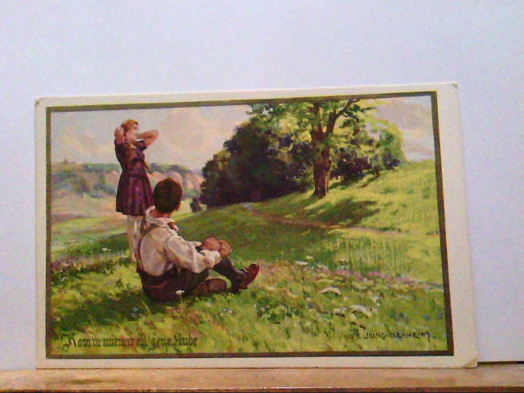 AK Künstlerkarte, Entwurf von Fr. Jung, Komm mit mir an jene Linde.