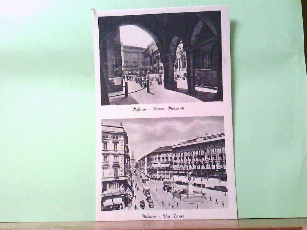 AK Milano / Italien, Piazza Mercanti, Via Dante, Mehrbildkarte mit 2 Abb.