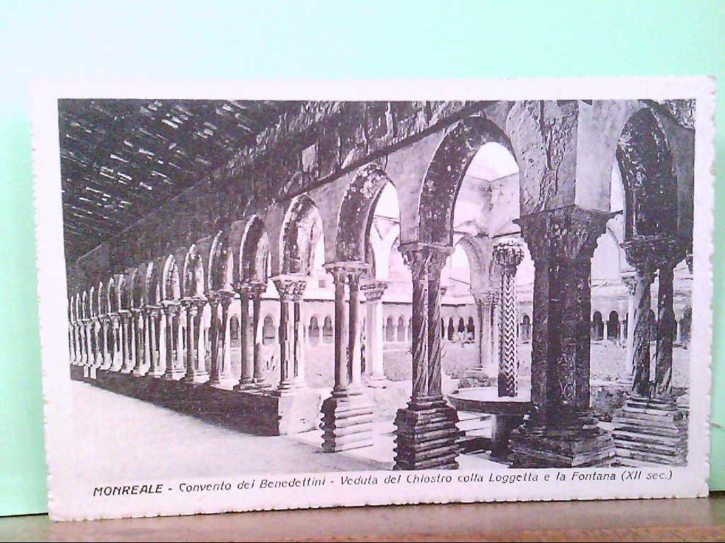 AK Monreale / Italien, Convento dei Benedettini - Veduta del Chiostro colla Loggetta e la Fontana.