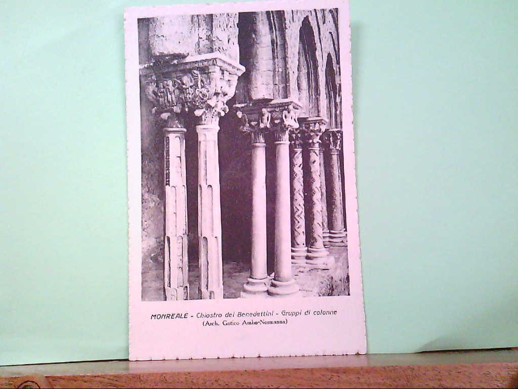 AK Monreale / Italien, Chiostro dei Benedettini - Gruppi di colonne. ( Arch. Gotico Arabo - Normanna )