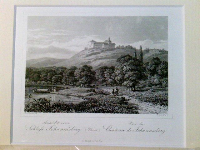 Ansicht vom Schloß Johannisberg (Rhein), Vue du Chateau de Johannisberg, im Passepartout, in Folie verpackt,