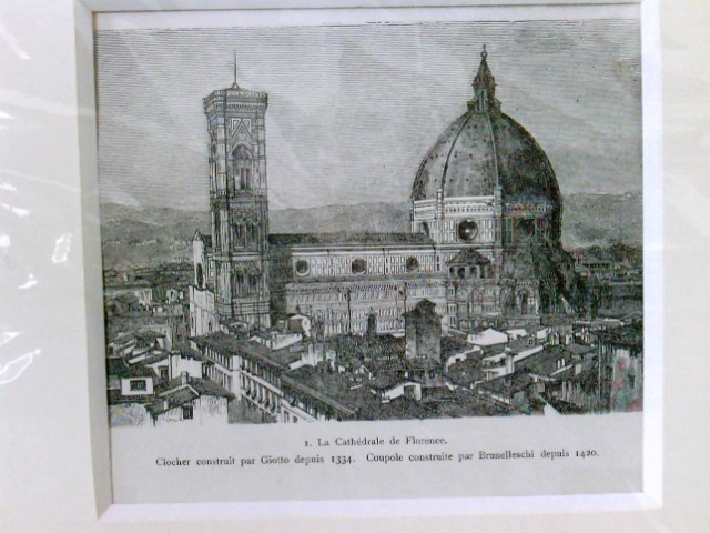 Holzschnitt, La Cathedrale de Florence, im Passepartout, in Folie verpackt,