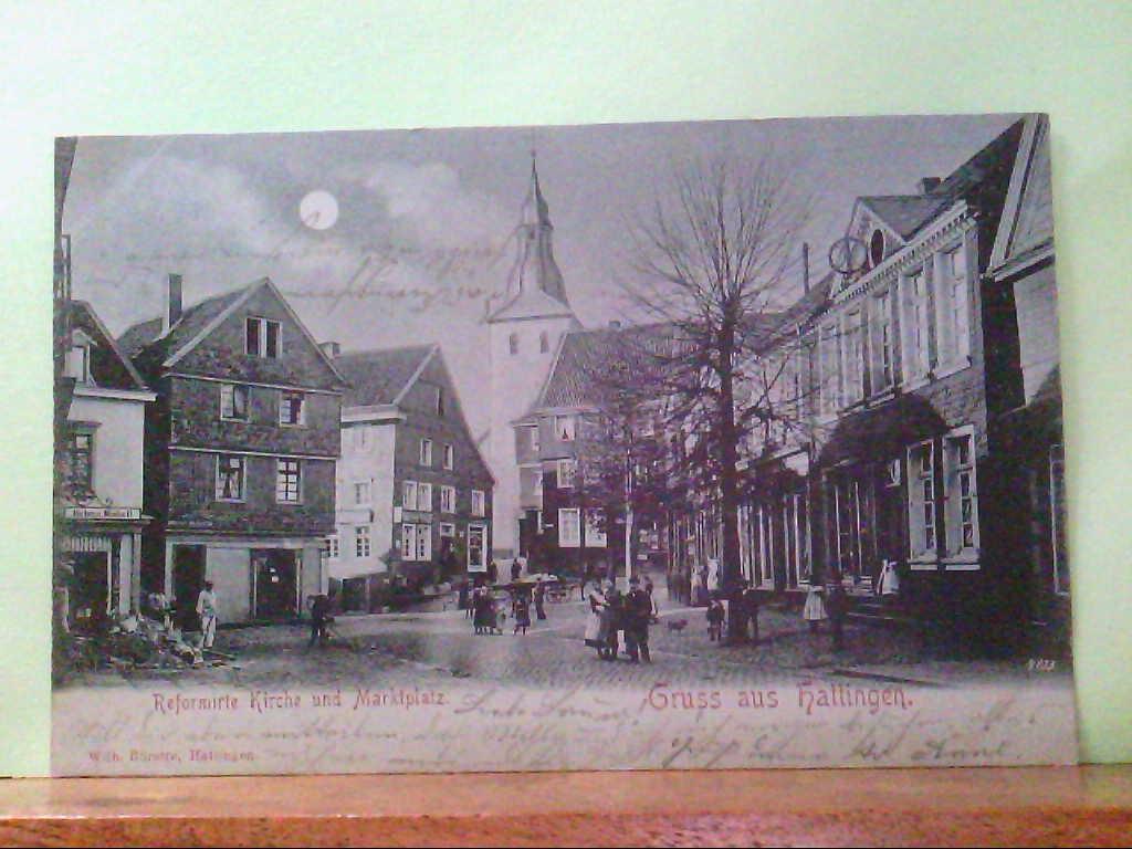 AK Hattingen, Gruss aus Hattingen, Mondscheinkarte, Litho, Reformierte Kirche und Marktplatz.
