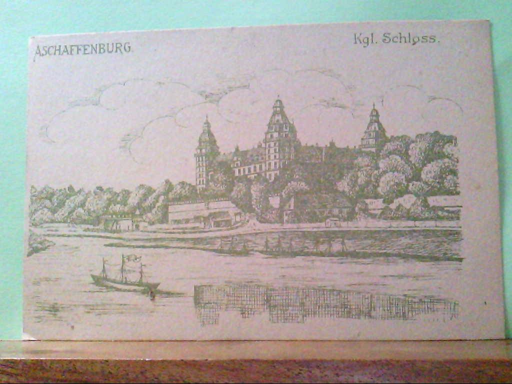 AK Aschaffenburg, Kgl. Schloss, Frauenverein vom Roten Kreuz, S.B. Zweigverein, Feldpostkarte.