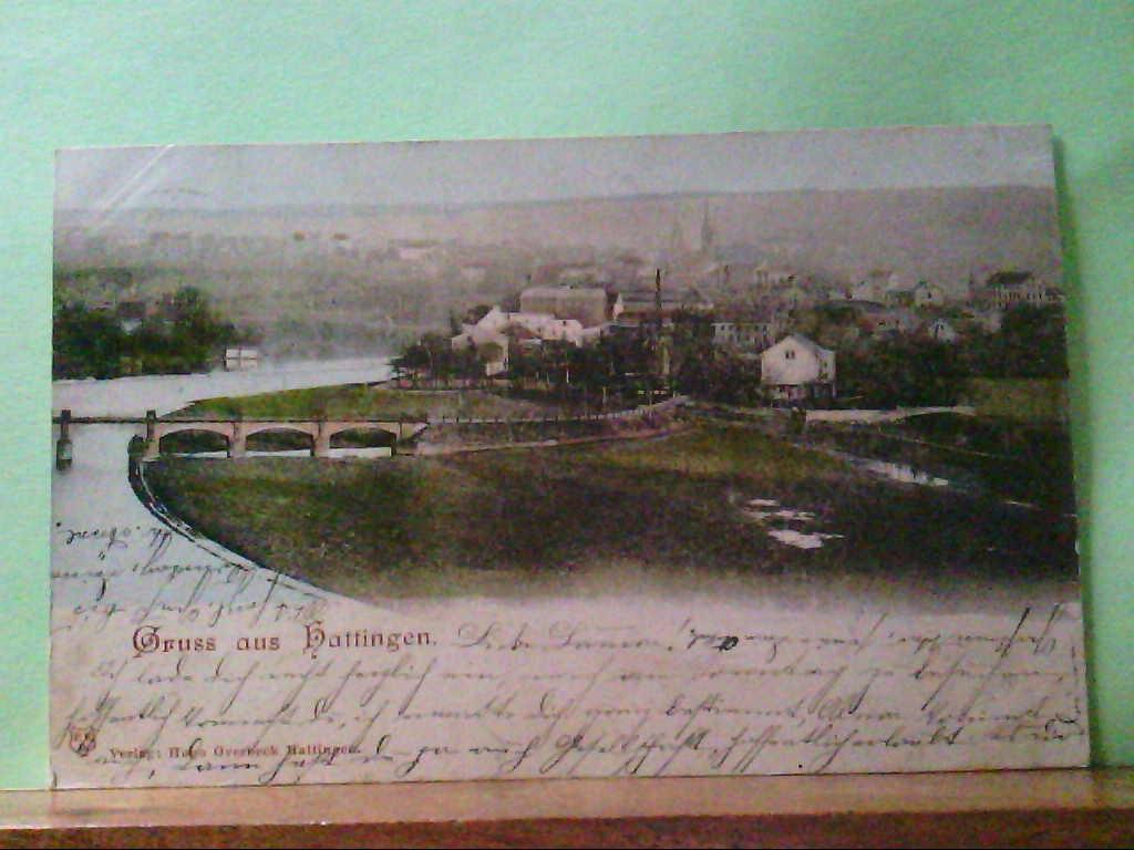 AK Hattingen, Gruss aus Hattingen, Panorama mit Blick auf die Stadt, 1899.