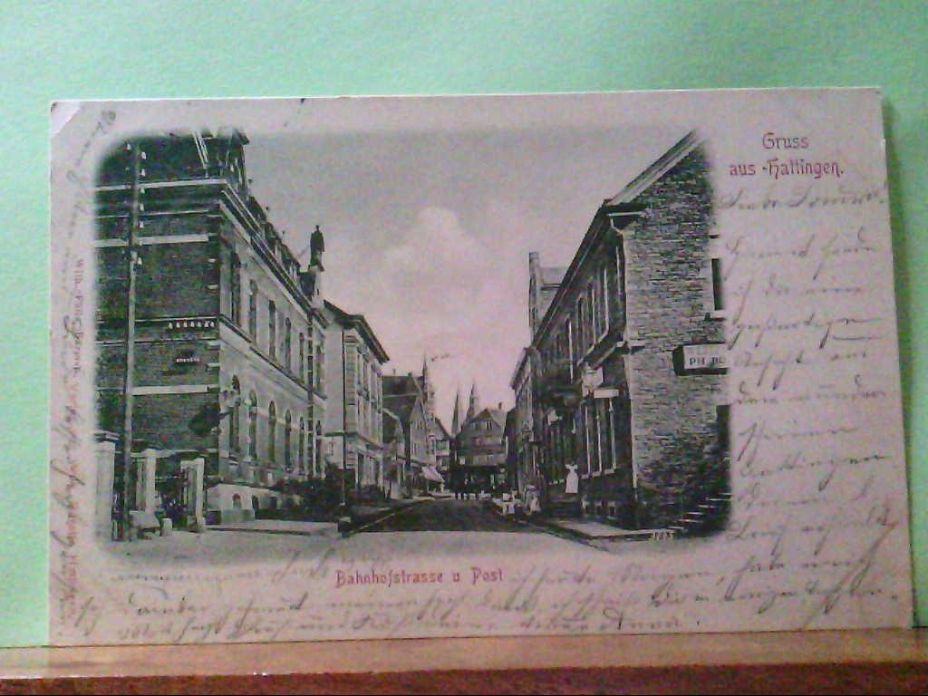 AK Hattingen, Gruss aus Hattingen, Strassenpartie, Bahnhofstrasse und Post, 1898.