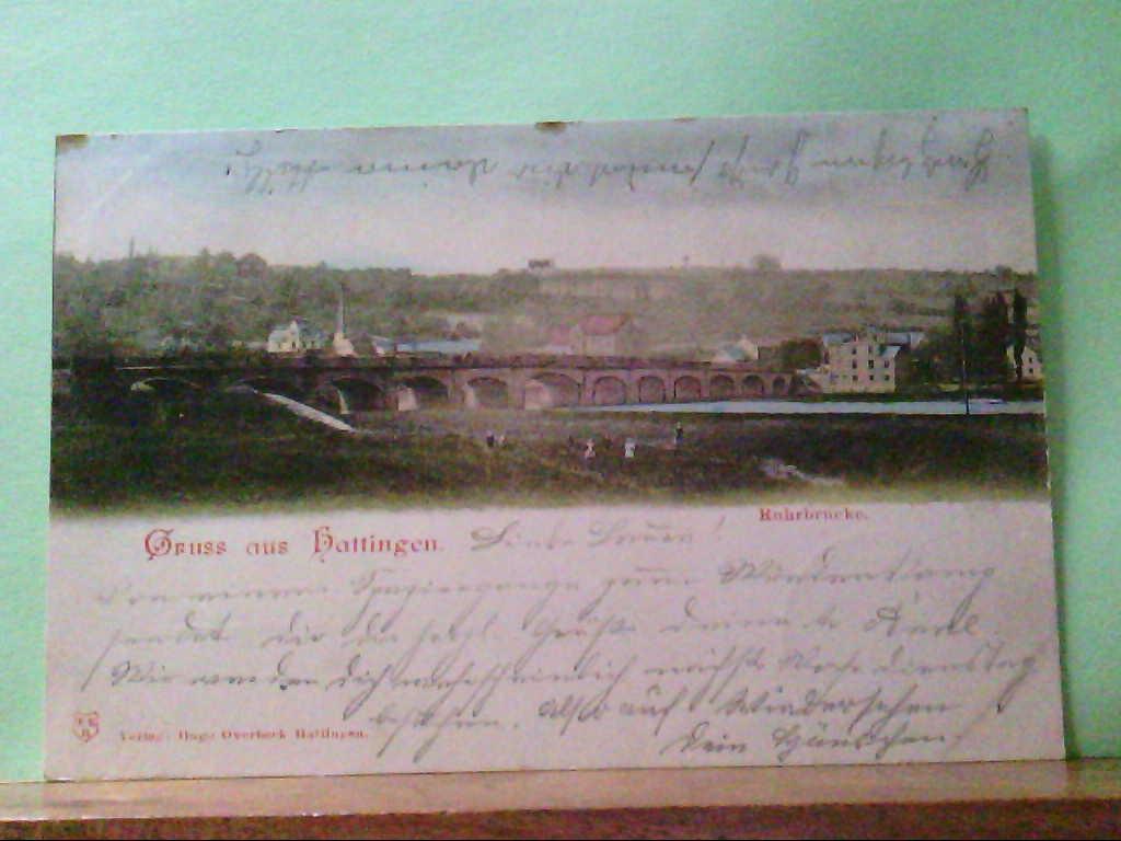 AK Hattingen, Gruss aus Hattingen, Ruhrbrücke, Panoramaansicht, 1899.