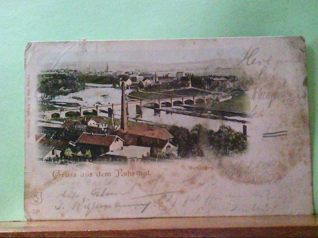 AK Hattingen, Gruss aus dem Ruhrthal, Hattingen, Panoramaansicht, 1904.