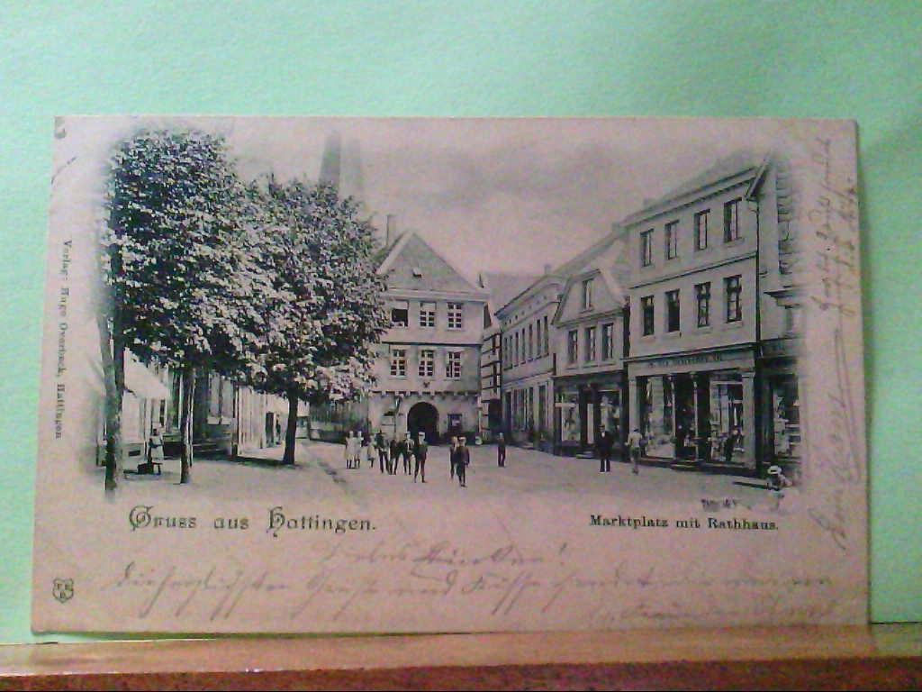 AK Hattingen, Gruss aus Hattingen, Marktplatz mit Rathaus, Personen, Geschäfte, 1899.