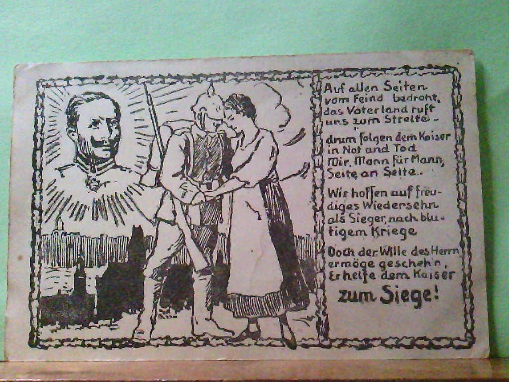 """AK Erster Weltkrieg, Künstlerkarte, """" Auf allen Seiten vom Feind bedroht, """", Feldpostkarte, 1915."""