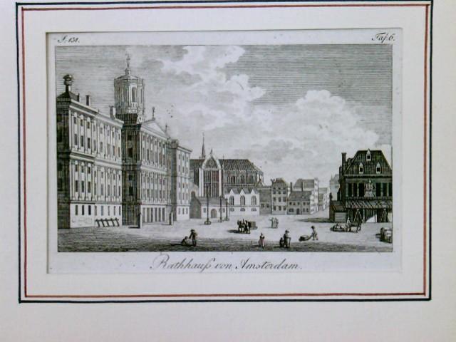 Rathhaus von Amsterdam, Rathaus von Amsterdam, Holland, Niederlande, Netherlands. Ansicht des großen Platzes in Amsterdam mit dem ehemaligen Rathaus links, daneben die Nieuwe Kerk,