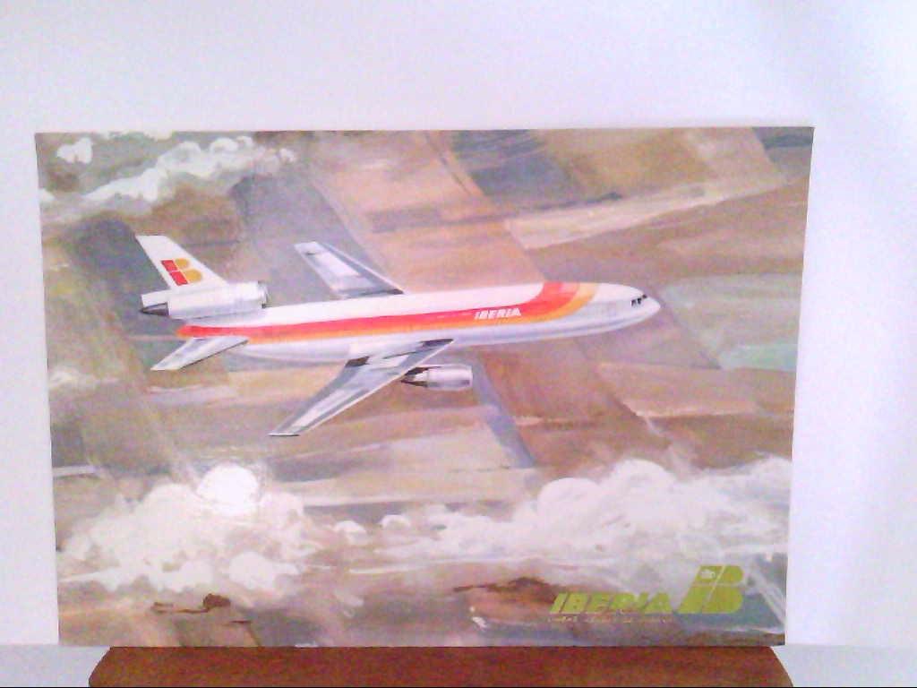 Künstler - AK. Airline Iberia. Douglas DC - 10. Goldener Schriftzug.