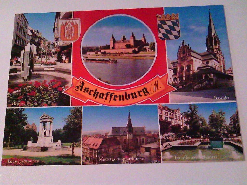 AK. Aschaffenburg am Main. Mehrbild, z.B. Ludwigsbrunnen.