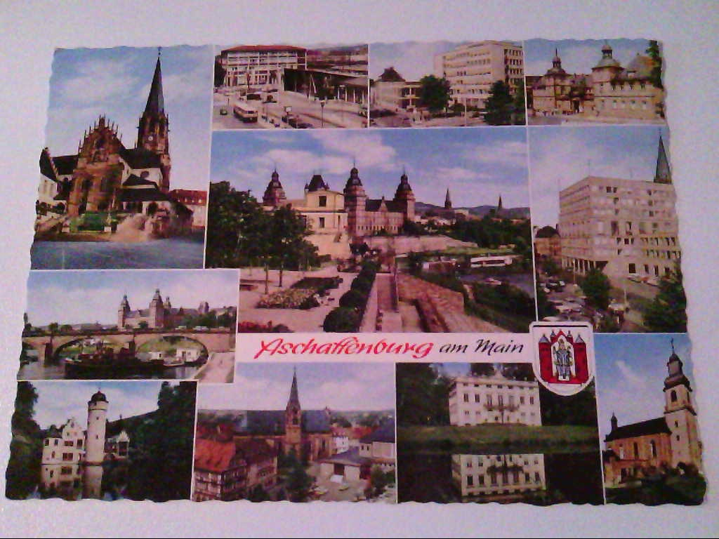 AK. Aschaffenburg am Main. Mehrbild, z.B. Schiff, Schloss, Rathaus.