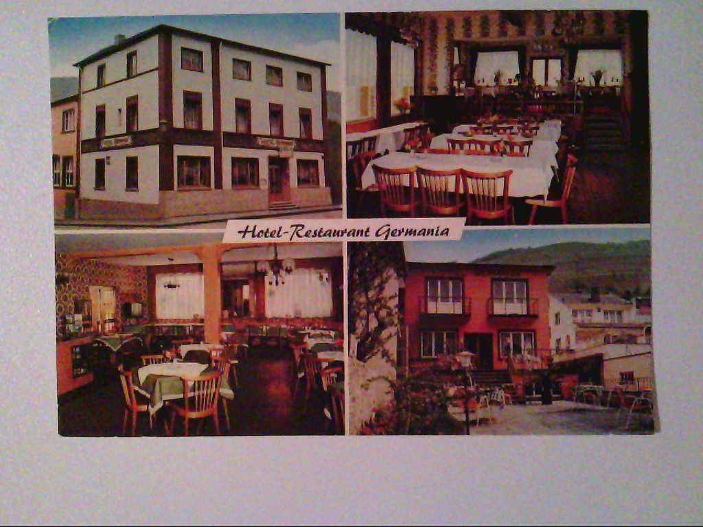 AK. Hotel-Restaurant Germania. Assmanshausen am Rhein. Mehrbildkarte mit 4 Abb.