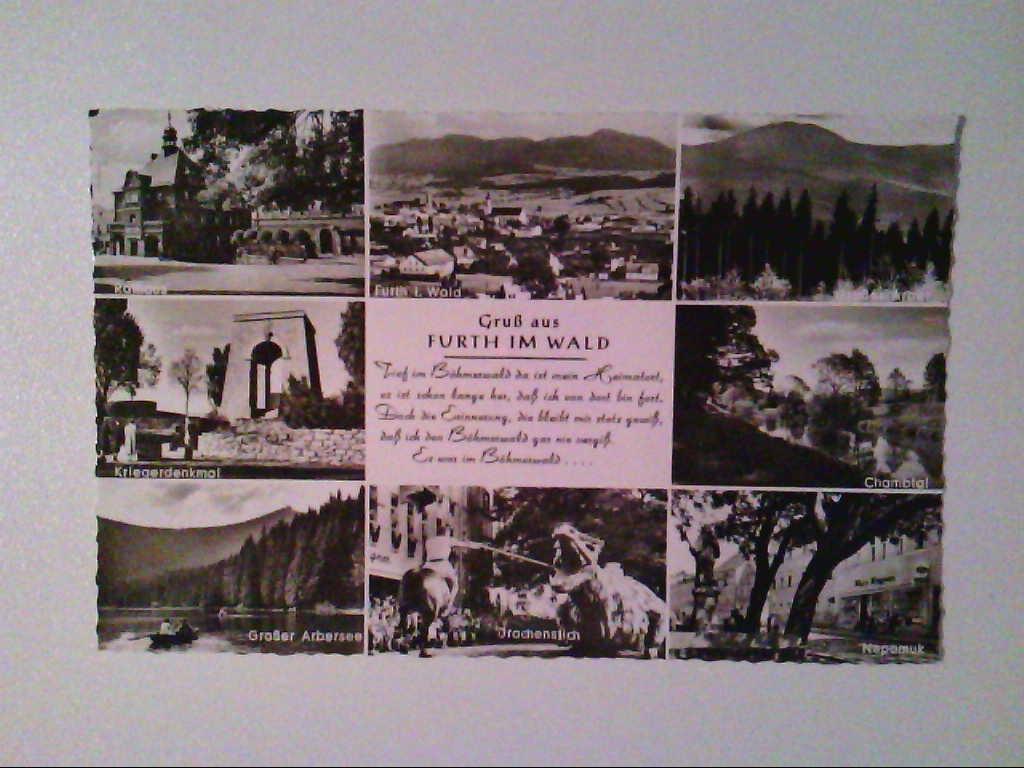 AK. Furth im Wald. Mehrbildkarte mit 8 Abb. s/w.