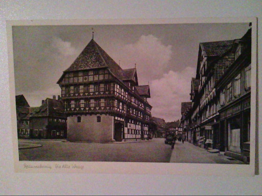 AK. Braunschweig. Alte Waage. Partie. Oldtimer. s/w.
