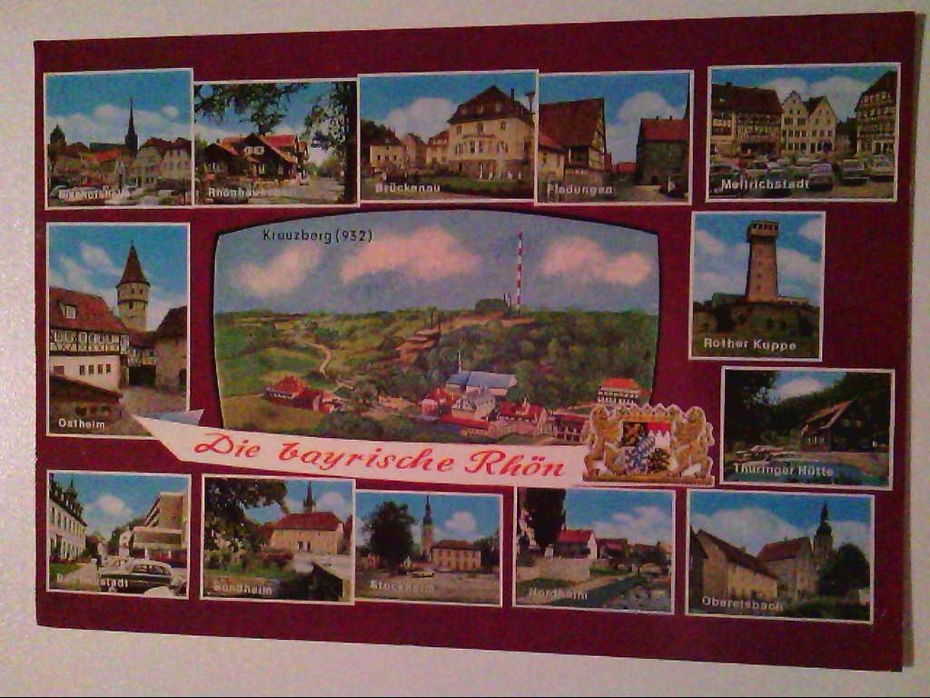 AK. Die Bayrische Rhön. Mehrbildkarte mit 14 Abb.
