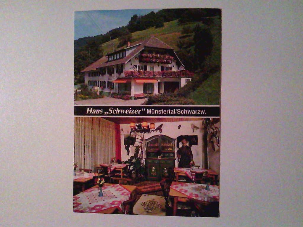 """AK. Haus """"Schweizer"""". Münstertal/Schwarzwald. Zweibildkarte."""