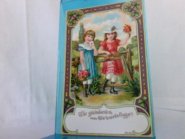AK Wir gratulieren zum Geburtstage!, Weltpostverein Nr.42, 2 Mädchen mit Blumenstrauß, Kleeblätter