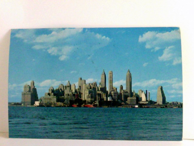 AK New York City, Lower Manhattan Skyline. Gebäudeansicht, Schiffe, USA