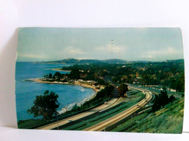 AK Santa Barbara California Coastline, Highway, Panoramablick, Autos, Häuser