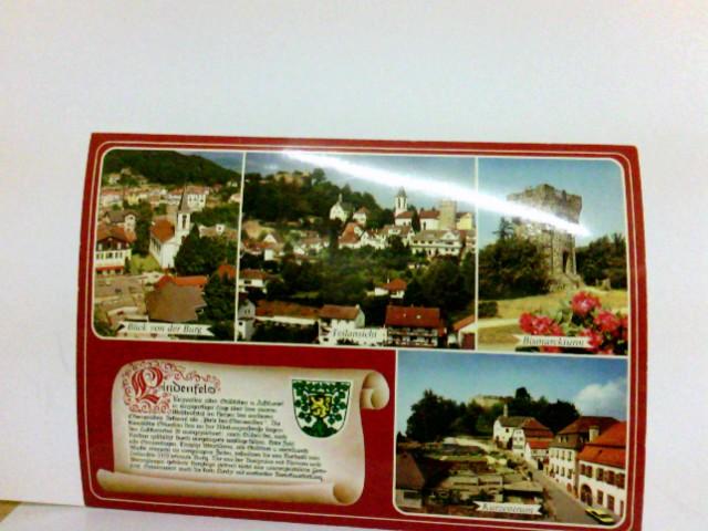 Mehrbild AK Lindenfels im Odenwald. Blick von der Burg, Teilansicht, Bismarckturm, Kurzentrum, Spruchkarte