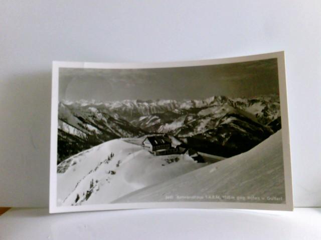 AK Rotwandhaus T.A.K.M. 1765m gegen Rofan und Guffert, Berghaus, Alpenpanorama im Winter, Gebäudeansicht, Gebirge