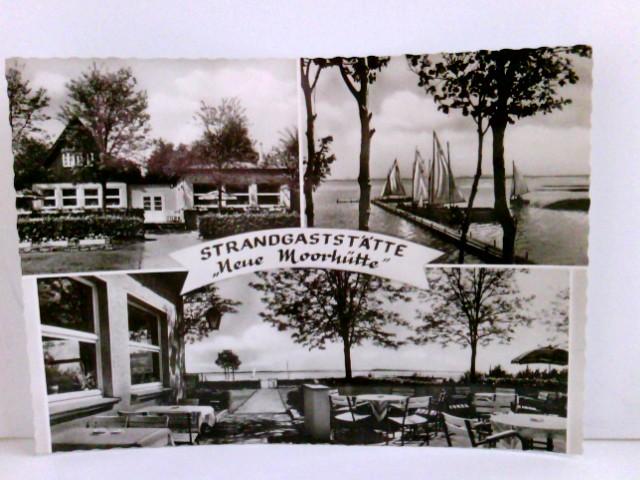"""Mehrbild AK Strandgaststätte """"Neue Moorhütte"""" Mardorf ü. Nienburg. Am Steinhuder Meer, Inh. W. Siemens,Terrasse, Gebäudeansicht, Seeblick mit Segelbooten"""