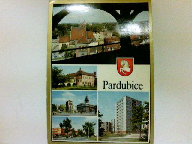 AK Pardubice. Blick über die Stadt, Gebäudeansichten, Stadtwappen, Tschechien
