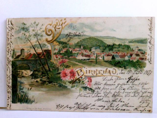 Seltene AK Gruss aus Birkenau im Odenwald. Lithographie. Panoramablick über den Ort, Bachlauf mit Brücke, Blütenranken