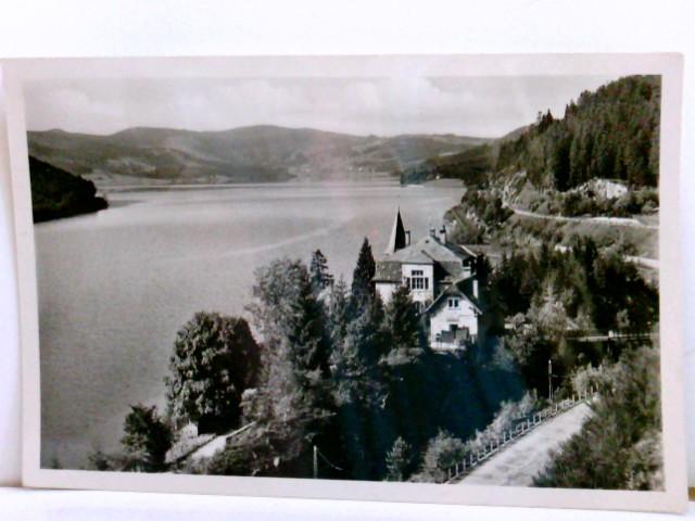 AK Café und Pension Hubertus. Seebrugg / Hochschwarzwald. Schluchsee, Gebäudeansicht, Berge, Paniramablick über den See