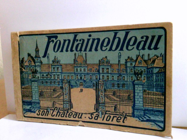 Konvolut 18 AK im Block : Fontainebleau son Chateau sa Foret.18 farbige Karten im Block, perforiert zum heraustrennen. Ansichten rund um Fontainebleau, Frankreich
