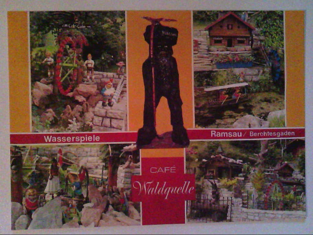 AK. Cafè Waldquelle. Ramsau/Berchtesgarden. Wasserspiele. Mehrbildkarte mit 4 Abb.