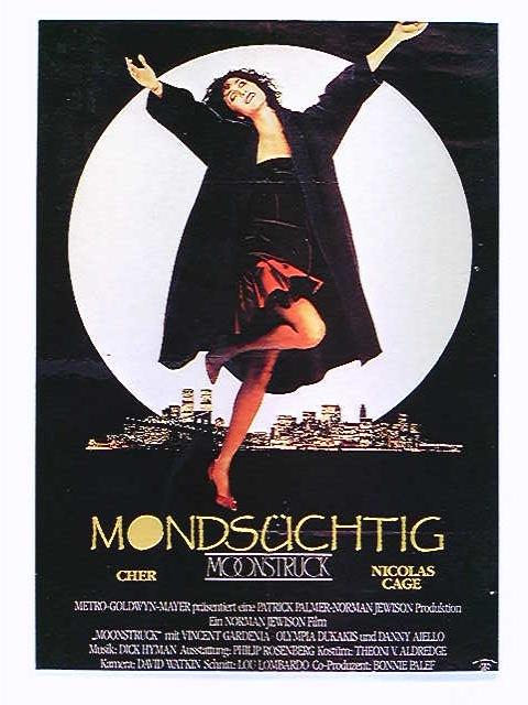 Werbe-AK Mondsüchtig / Moonstruck, Cher, Nicolas Cage, Filmplakat, ungelaufen