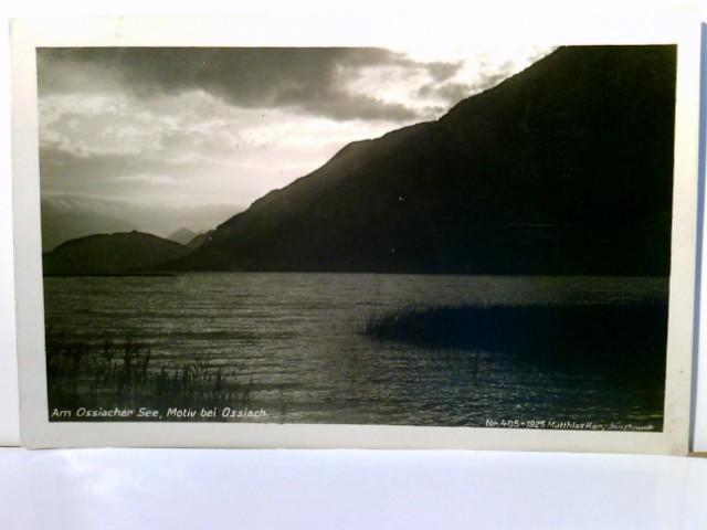 Am Ossiacher See. Set 2 x AK s/w, 1 x Abendstimmung am See, gel.1928, 1 x Ossiachersee mit Karawanken, ungelaufen. Seeansicht, Ortsansicht, Bergpanorama, Kärnten, Österreich