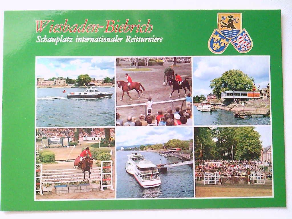 AK. Wiesbaden- Biebrich. Reitturnier. Mehrbildkarte mit 6 Abb.