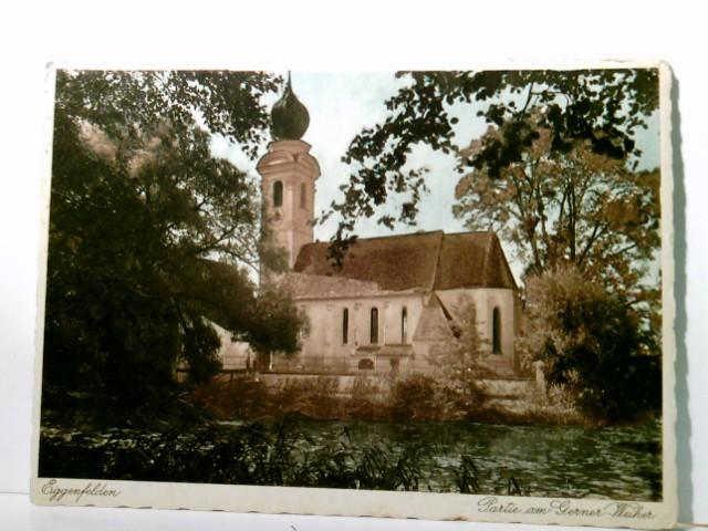 Eggenfelden / Niederbayern. Partie am Gerner Weiher. Seltene AK farbig, gel. 1935. Kirche, Blick vom Weiher her