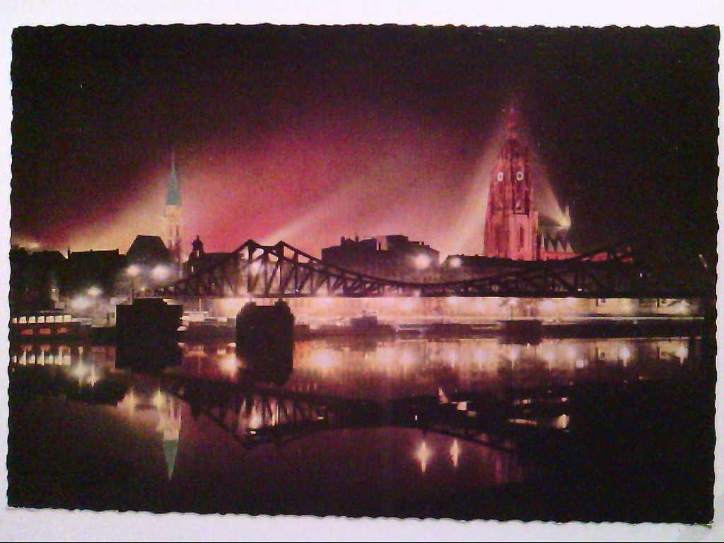 AK. Frankfurt am Main bei Nacht. Mainpartie. Dom. Nikolaikirche.