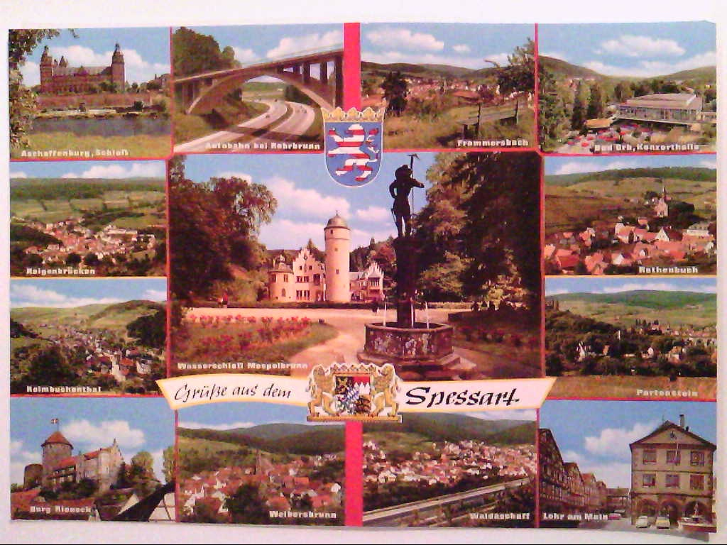 AK. Spessart. Mehrbildkarte mit 13 Abb. Wappen.